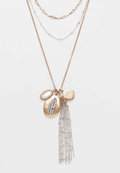 Silver Jeans Co.® layered tassel necklace