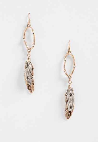 Silver Jeans Co Multi Feather Hoop Earrings Ynl65F