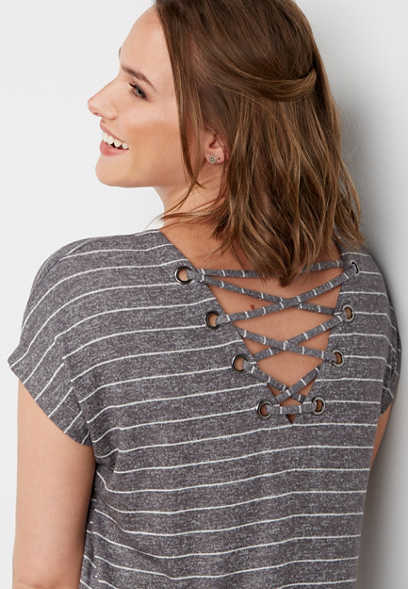 striped lace up back tee