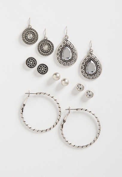six piece drop earring set