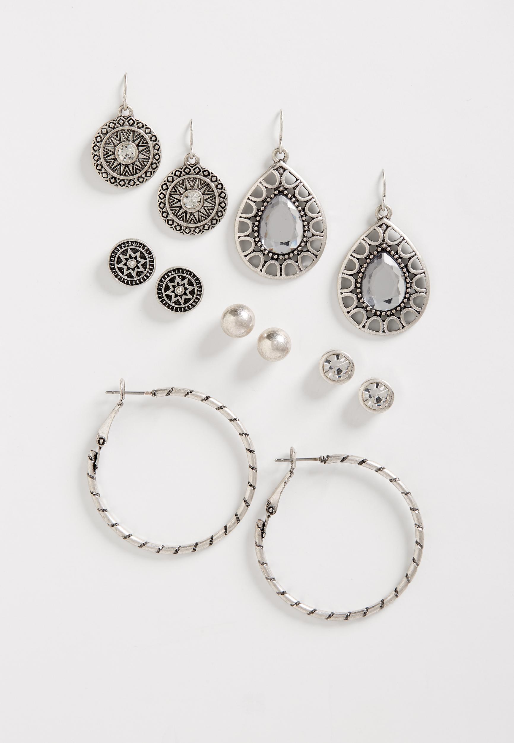 Maurices Silver Hoop Earring Set
