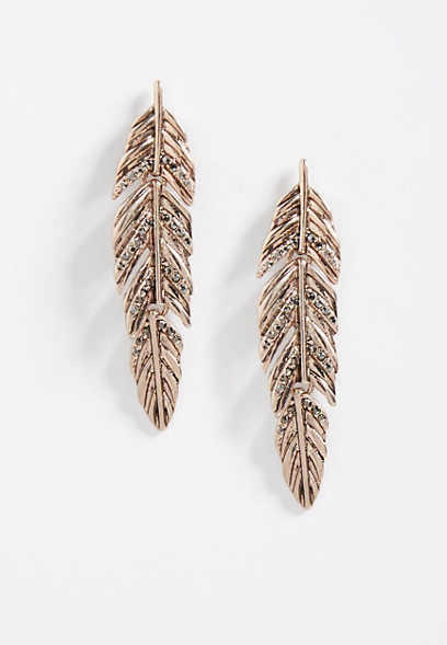 rose gold hinged feather rhinestone earrings