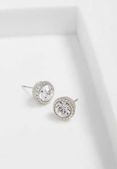 silver rhinestone button earring