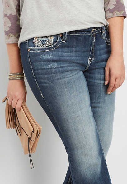 plus size Vigoss® dark wash slim boot jean