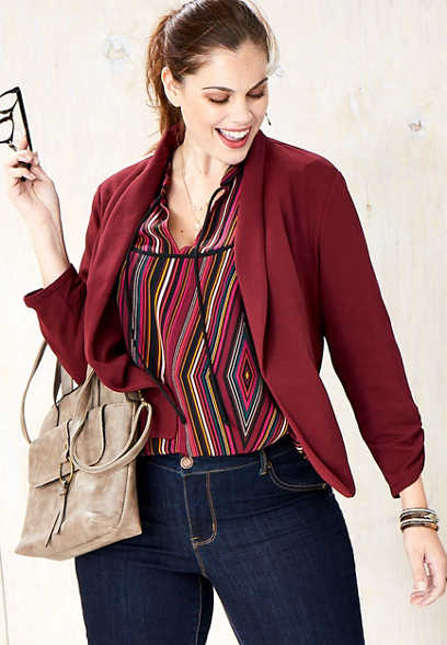plus size solid open front blazer