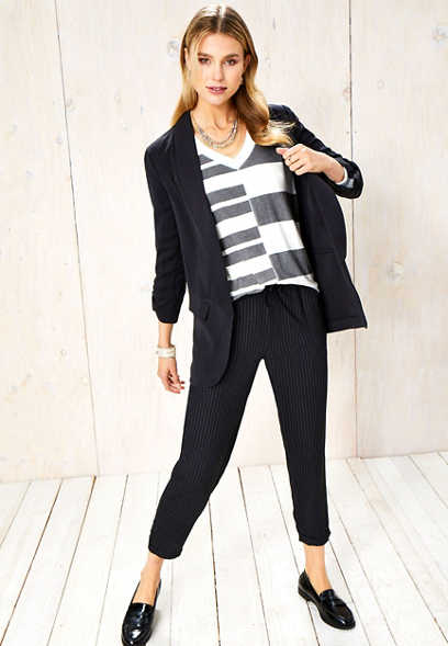 stripe pull on ankle pant