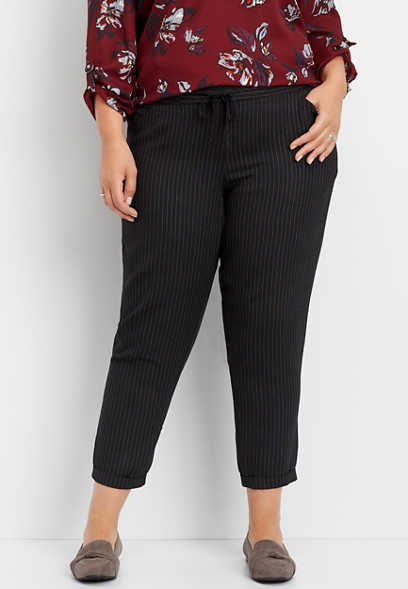plus size stripe pull on ankle pant