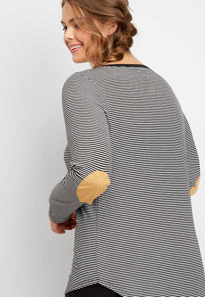 plus size 24/7 elbow patch striped tunic tee