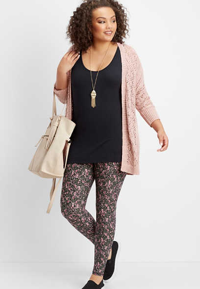 plus size ultra soft ditsy floral legging