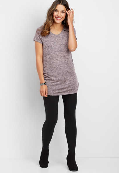solid zipper detail tunic tee