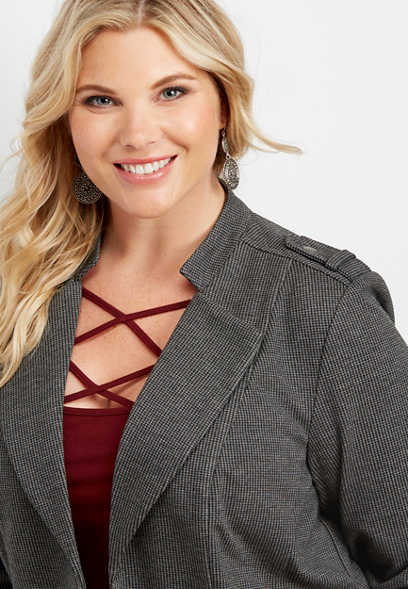 plus size patterned open front blazer