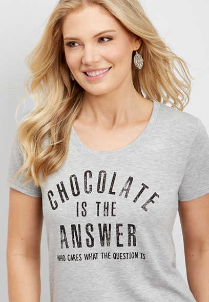 chocolate is the answer graphic tee