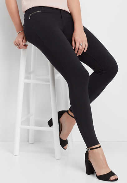 black ponte five pocket skinny pant