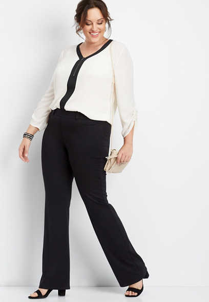 plus size pull on black ponte bootcut pant