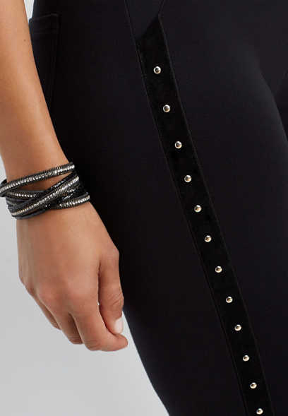 black studded side skinny ankle pant
