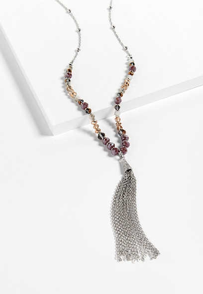 berry tone beaded y-necklace