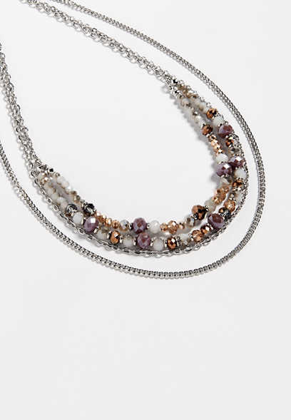 berry tone layered drape necklace