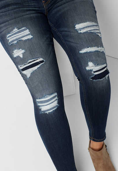 plus size DenimFlex™ dark wash destructed skinny jean