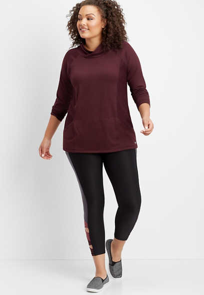 plus size mesh inlay knit pullover