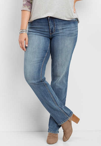 plus size DenimFlex™ medium wash straight leg jean