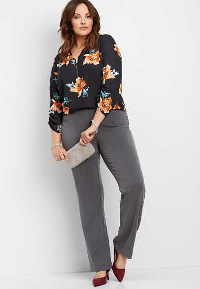 plus size charcoal classic trouser