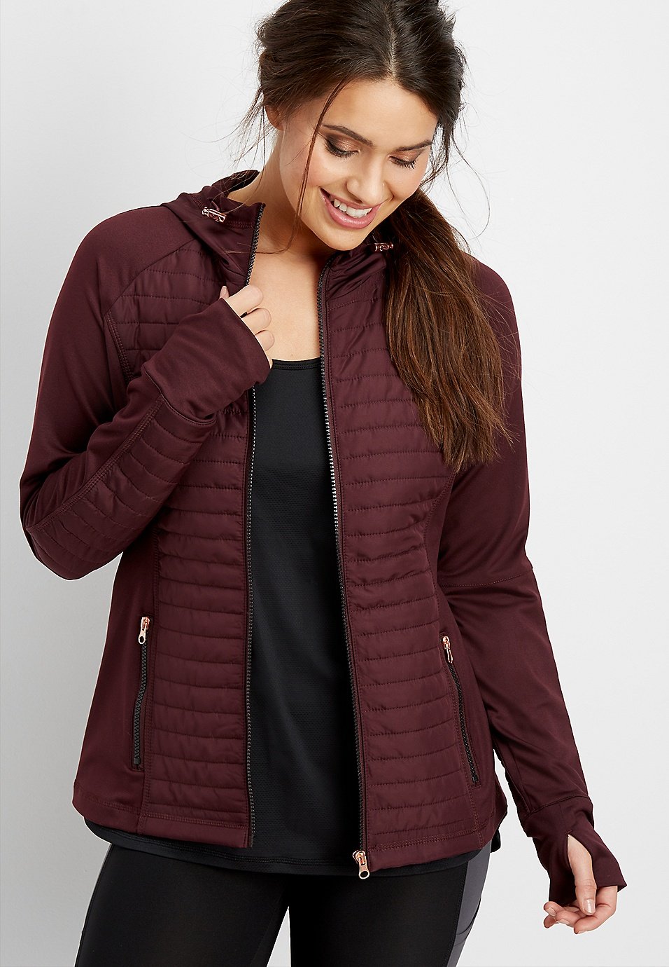 b43c6adf052 mixed media quilted transitional jacket