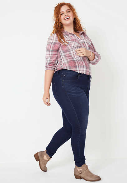 plus size Everflex™ high rise dark stretch skinny jeans