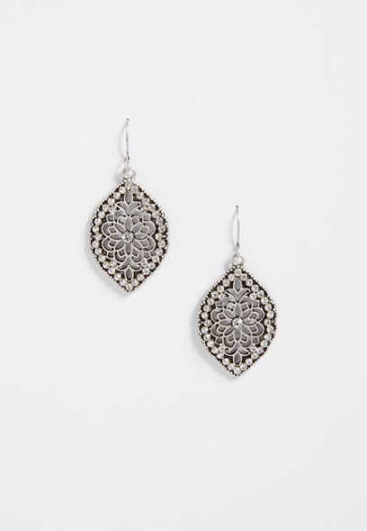 cutout stone drop earrings