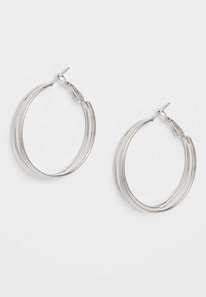 triple row hoop earring