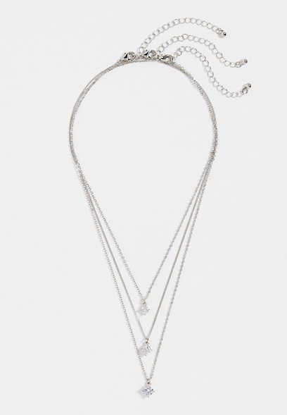 cubic zirconia stone trio necklace set