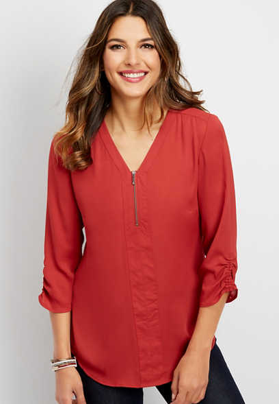zipper front tunic blouse