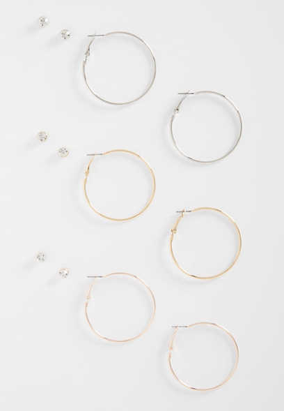 mixed metal hoop and stud earring set