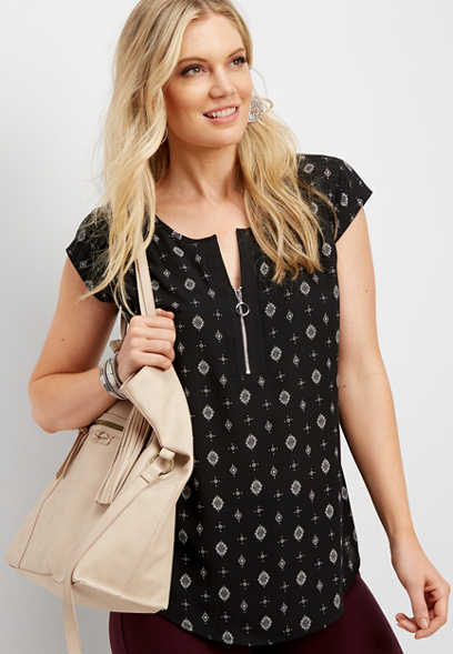 patterned zip front dolman tee