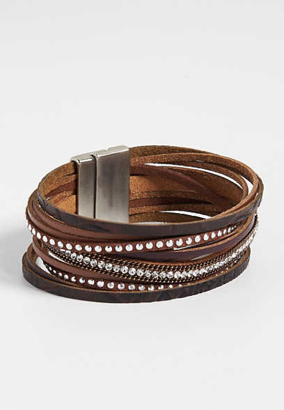 brown tone layered magnetic bracelet