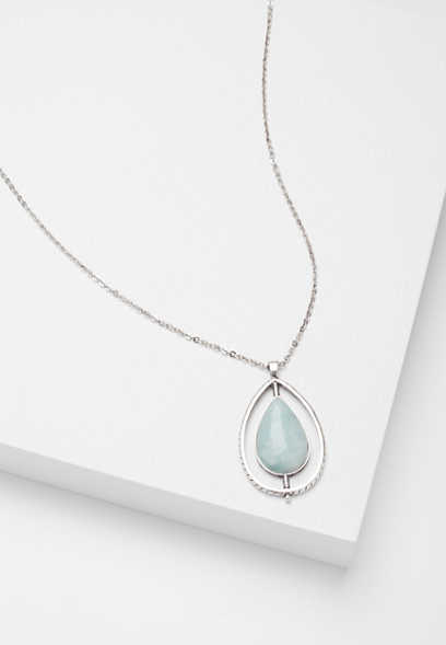 soft green stone teardrop pendant necklace
