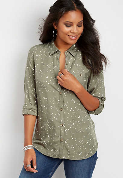 paint dot button down shirt