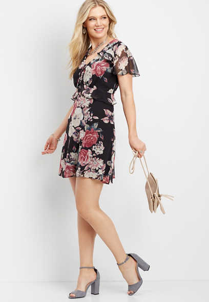 ruffled flutter sleeve floral dress