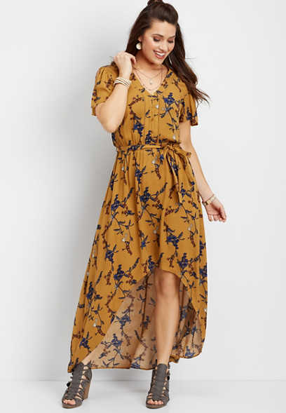 slit sleeve floral maxi dress