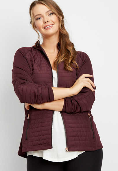plus size mixed media quilted transitional jacket