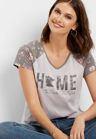 Minnesota home floral graphic tee