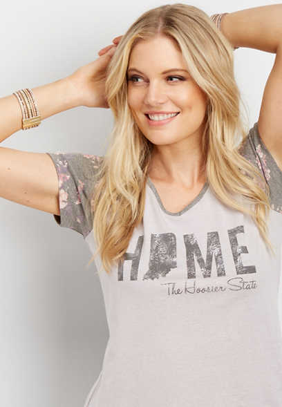 Indiana home floral graphic tee