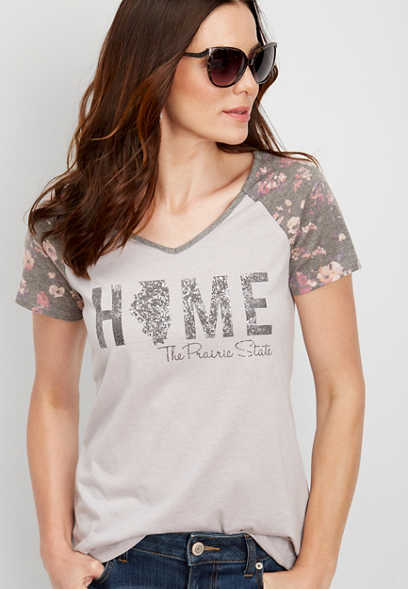 Illinois home floral graphic tee