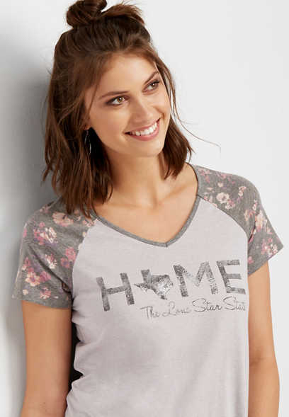 Texas home floral graphic tee