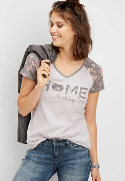 Iowa home floral graphic tee