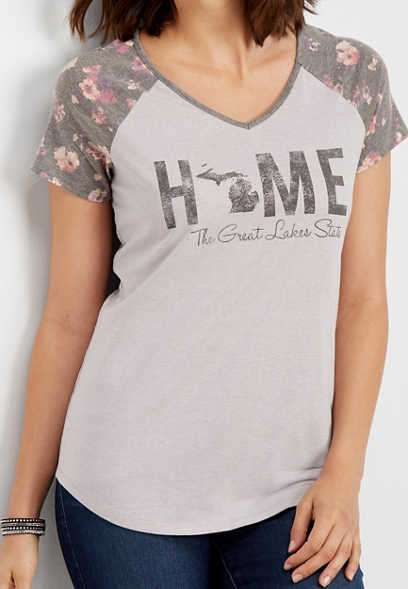 Michigan home floral graphic tee