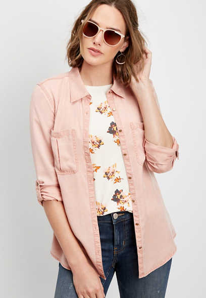 rosy button down shirt