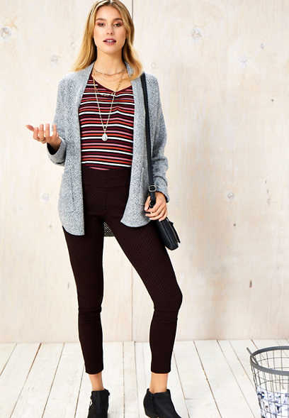 dot print stretch pull on skinny ankle pant
