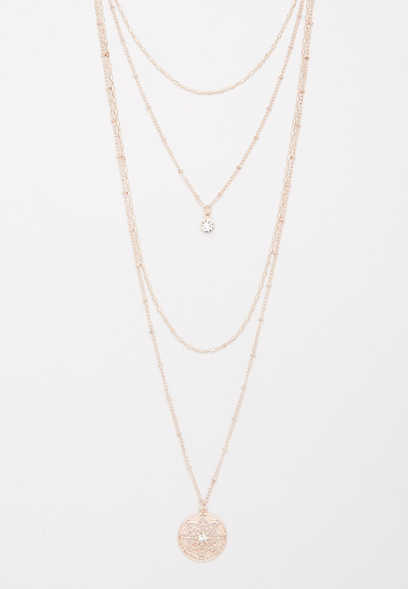 gold tone draped necklace