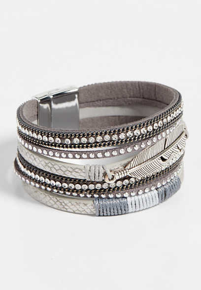 silvertone gray feather magnetic bracelet