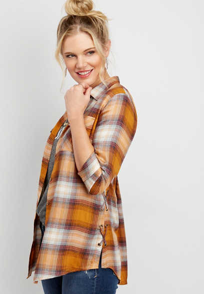 lace up side plaid button down tunic shirt